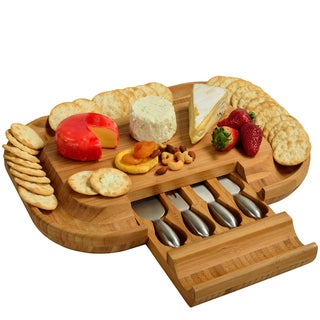 Deluxe Malvern Bamboo Cheese Board with Stainless Steel Tools