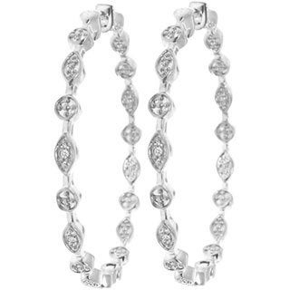 Gioelli Sterling Silver 1/8ct TDW Diamond Hoop Earrings (H-I, I2-I3)