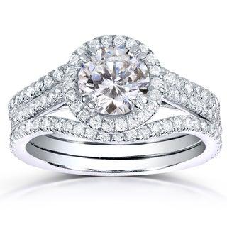 Annello 14k White Gold 1 3/4ct TDW Round-cut Halo Diamond 3-piece Bridal Ring Set (H-I, I1-I2)