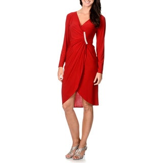 R & M Richards Women's Faux Wrap Rhinestone-strip Tulip Dress