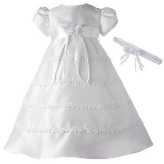 Girls White Long Christening/ Baptism Dress