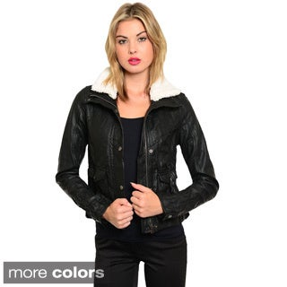 Shop The Trends Women's Faux Leather Bomber Jacket