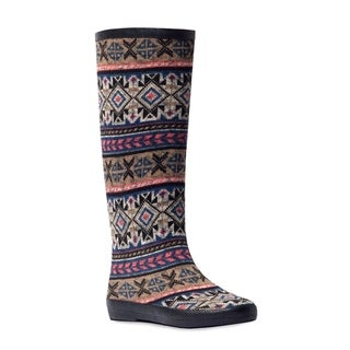 Muk Luks Women's 'Aubrie' Grape Tribal Stripe Rain Boots