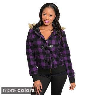 Stanzino Women's Hooded Slim Flannel Jacket