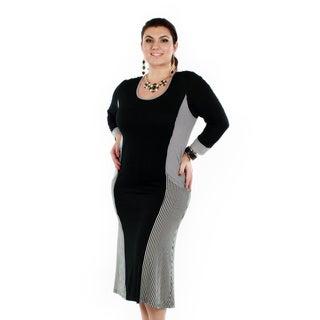 Firmiana Women's Plus Size Striped Black Panel Long Sleeve Dress