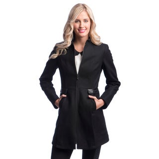 Laundry By Design Center Front Zip Wool Coat with Stand Collar