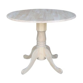 Unfinished Round 36-inch Dual Drop-leaf Dining Table
