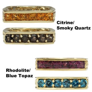 Dallas Prince Gold Over Silver Rhodolite and London Blue Topaz or Madiera Citrine and Smoky Quartz Ring