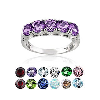 Glitzy Rocks Sterling Silver 5-stone Gemstone Eternity Ring