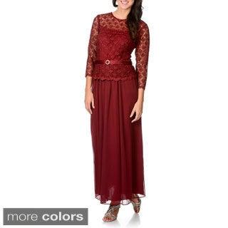 R & M Richards Women's Lace Top Mock 2-piece Gown