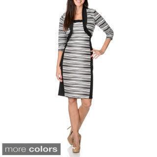 R & M Richards Women's Novelty Wave Texture Jacket and Dress Set