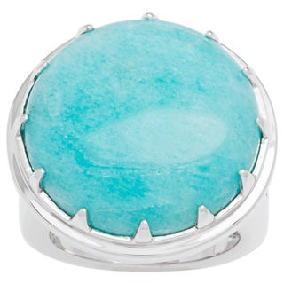 Yours by Loren Fashion Ring with 34.47ct TW Blue Amazonite in .925 Sterling Silver