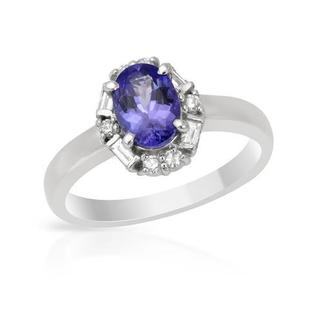 Ring with 1.17ct TW Diamonds and Tanzanite in 900 Platinum