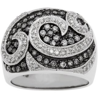 Cocktail Ring with 1ct TDW Black and White Diamonds .925 Sterling Silver