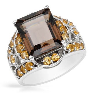 Sterling Silver Citrine and Topaz Halo Ring