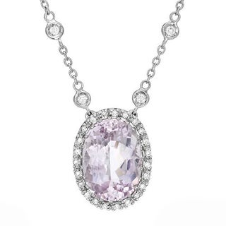 Favero 18k White Gold 7.41ct TW Diamonds and Kunzite Necklace