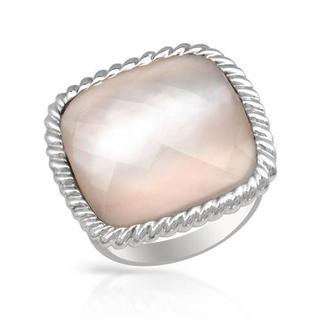 Crystal/ Mother Of Pearl Sterling Silver FPJ Ring