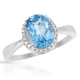 Ring with 2.63ct TW Diamonds and Topaz in White Gold