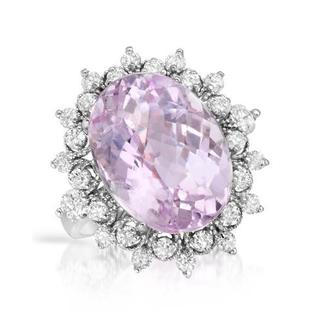 Cocktail Ring with 12.76ct TW Diamonds and Kunzite Crafted in 14K White Gold