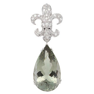 Pendant with 30.85ct TW Amethyst and Diamonds in 14K White Gold