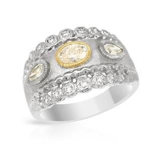 Platinum and 18k White Gold 1.01ct TDW Diamond Engagement Ring