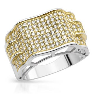 Men's Ring with 3.3ct TW Cubic Zirconia in 18K/925 Gold-plated Silver