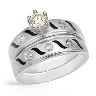 14k White Gold Yellow Diamonds with Black Enamel Bridal Set