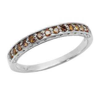 10K White Gold 1/4ct TDW Enhanced Brown Diamond Anniversary Ring size 7