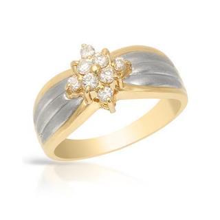 Platinum and 18k Yellow Gold 1/4ct TDW Diamond Engagement Ring