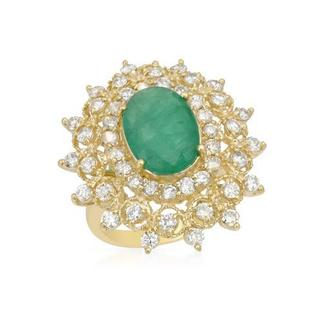 Ring with 5 1/2ct TW Diamonds and Emerald of 14K Yellow Gold