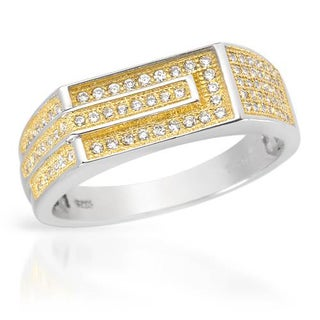 Men's Ring with 0 3/4ct TW Cubic Zirconia in 18K/925 Gold-plated Silver