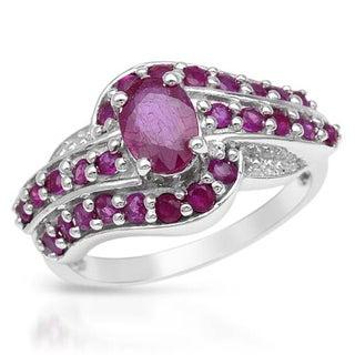 Silver Sterling 1.87ct TGW Ruby Ring