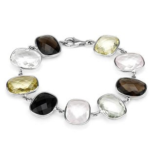 Bracelet with 73 1/2ct TW Amethyst, Quartz and Topazes .925 Sterling Silver