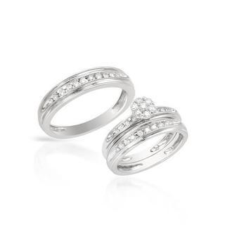 14k White Gold 0.57ct TDW Diamond Matching His and Hers Wedding Ring Set