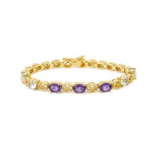 Bracelet with 6.97ct TW Amethysts and Topazes in 14K/925 Gold-plated Silver