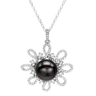 Necklace with 3.95ct TW Cubic Zirconia and 12mm Freshwater Pearl in .925 Sterling Silver