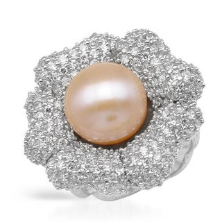 Ring with 6ct TW Cubic Zirconia and 12mm Freshwater Pearl .925 Sterling Silver