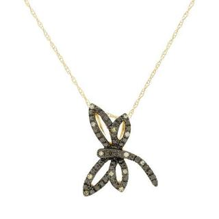 10k Yellow Gold Natural Yellow Diamond Accent Dragonfly Necklace