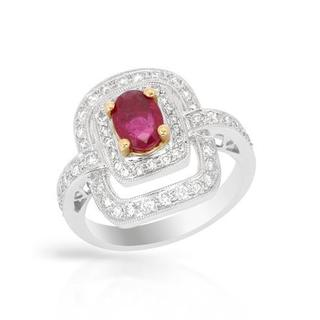 Ring with 1.69ct TW Diamonds and Ruby Crafted in 18K Two-tone Gold
