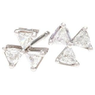 White Gold Trillion Cut Diamond Stud Earrings