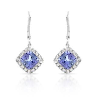 Celine F Earrings with 4.67ct TW Diamonds and Tanzanites 14K White Gold