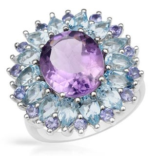 Ring with 8.17ct TW Amethyst, Tanzanites and Topazes in 925 Sterling Silver
