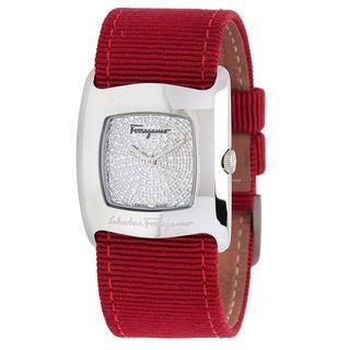 Pre-Owned Salvatore Ferragamo Women's 4/5ct TDW Diamond Red Strap Watch
