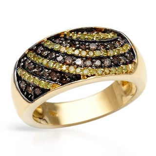 Ring with 0.64ct TW Diamonds in 14K/925 Gold-plated Silver