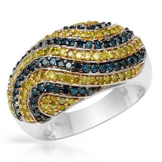 Fashion Swirl Diamond Ring 1 1/4ct TDW Enhanced Blue and Enhanced Yellow Diamonds Sterling Silver