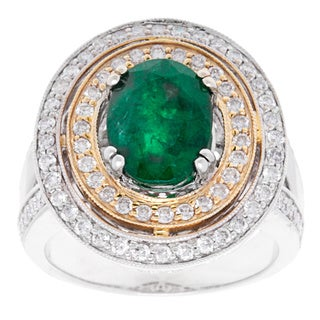 14K Two-tone Gold 4 1/4ct TW Diamond and Emerald Cocktail Ring (Size 6.5)