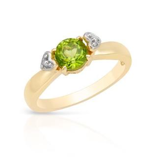 Ring with 0.9ct TW Peridot in Two-tone Gold