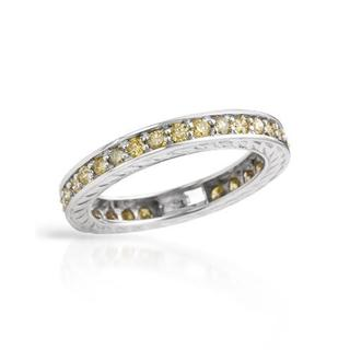 Eternity Ring with 1.05ct TW Fancy Intense Green enhanced Diamonds in White Gold