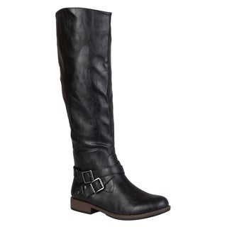 Journee Collection Women's 'April' Regular and Wide-calf Ankle-strap Buckle Knee-high Riding Boot