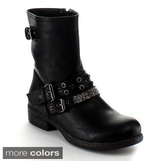 Nature Breeze Women's 'Richie-06' Buckle Strap Mid-calf Boots